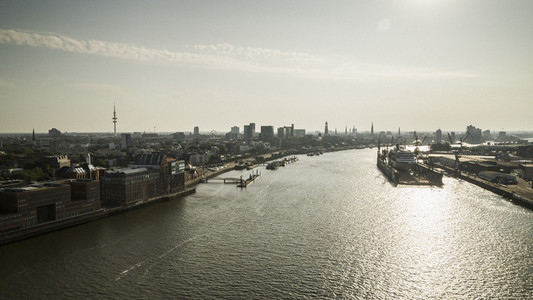 Sunny scenic view Hamburg and Elbe River