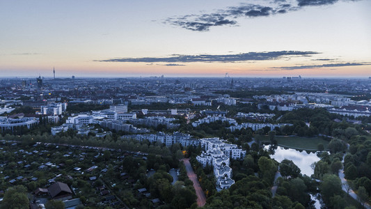 Scenic Munich cityscape and Westpark at dusk