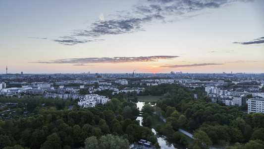 Scenic sunset view Westpark and Munich cityscape