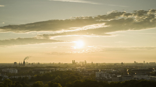 Sunset over Munich cityscape