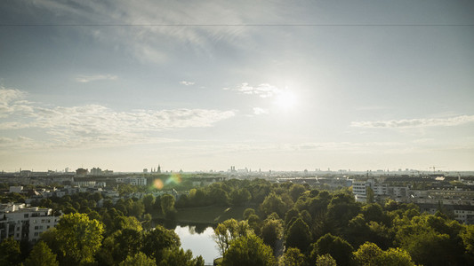 Sunny Munich cityscape and Westpark