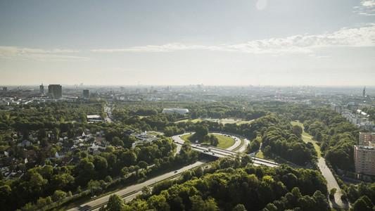 Sunny Munich cityscape and Westpark