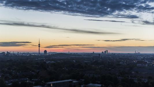 Sunset sky over Munich cityscape
