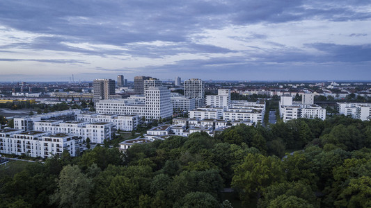 Munich cityscape and Hirschgarten
