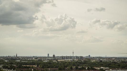 Clouds over Munich cityscape