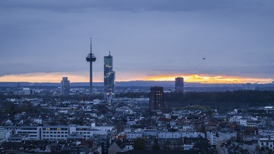Colonius TV Tower above Cologne cityscape at sunset