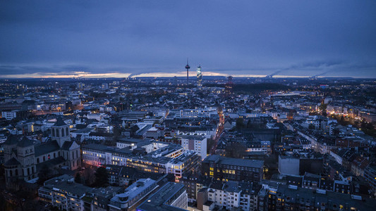Cologne cityscape and Colonius TV Tower at night