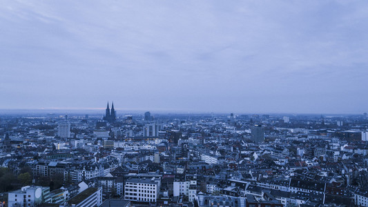Cologne cityscape at dusk