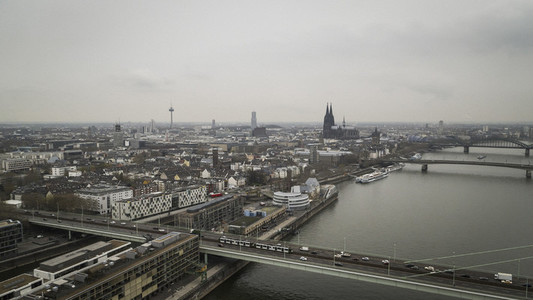 Cologne cityscape and Rhine River