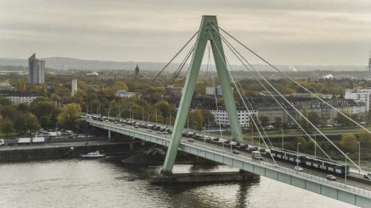 Traffic on bridge over Rhine River