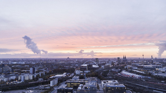 Cologne cityscape at sunset