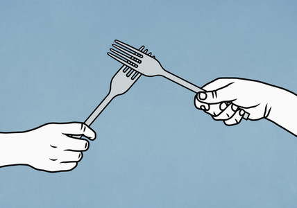 Hands high fiving forks