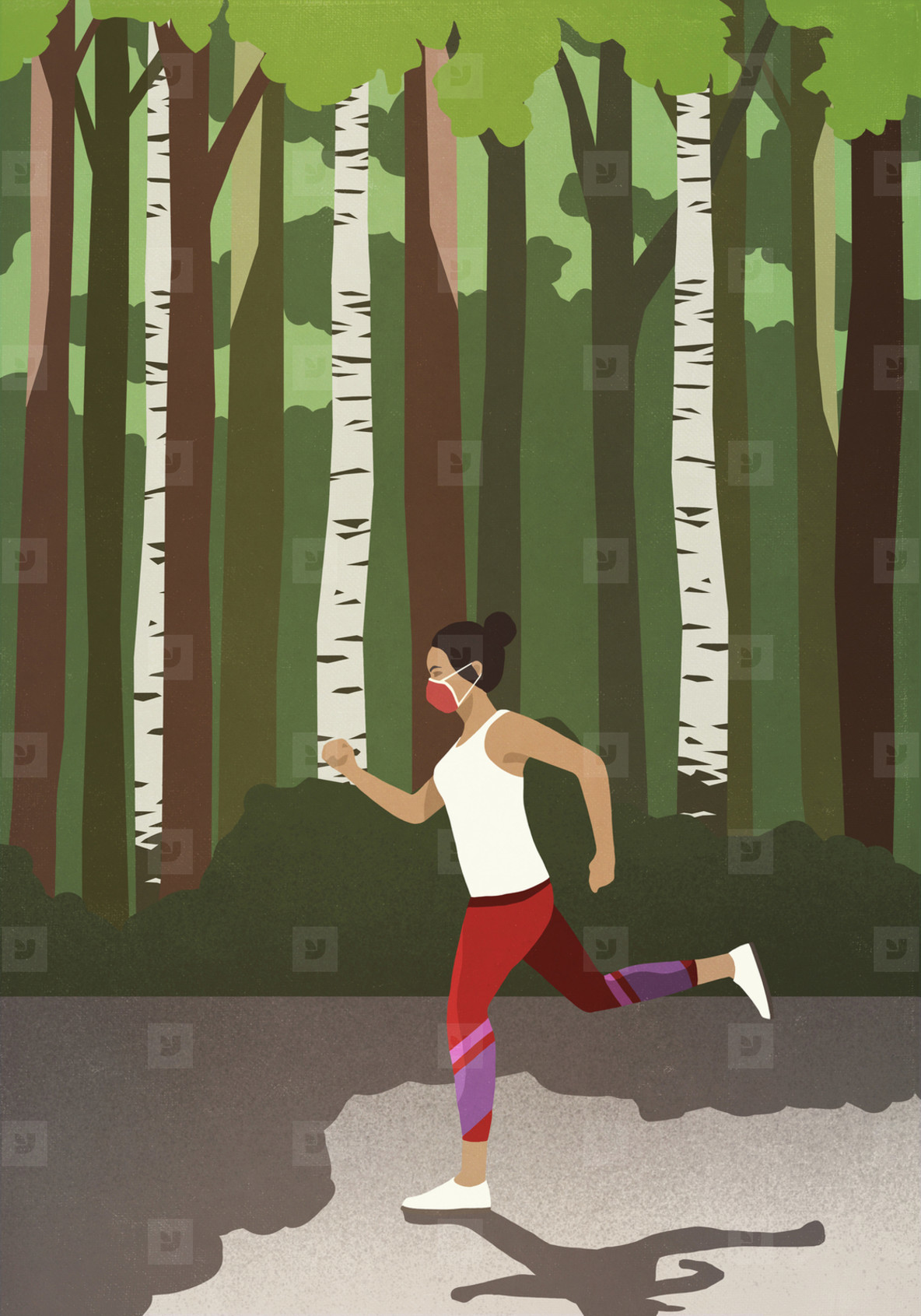 Woman in protective mask jogging in sunny park