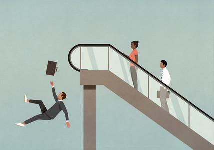 Businessman falling off the edge of ascending escalator