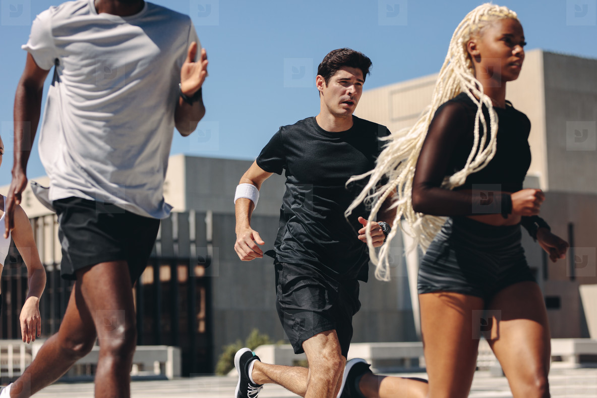 Runners training in morning in the city