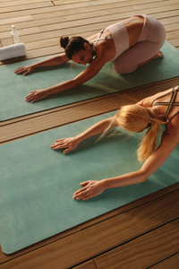Fitness women practicing yoga for good health