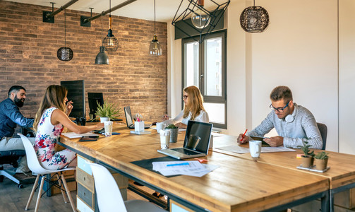 Business people working in a coworking office