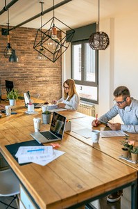People working in a coworking office
