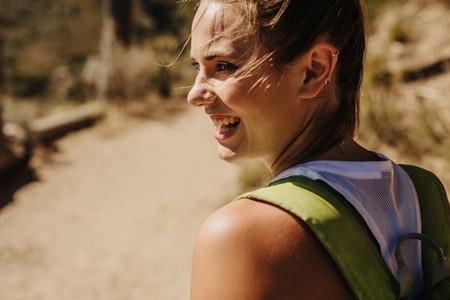 Woman enjoying on a hike