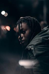 Trendy black woman in Jacket