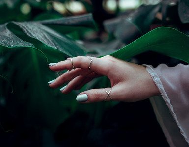 Woman hand with natural green