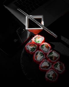 Set of salmon sushi roll