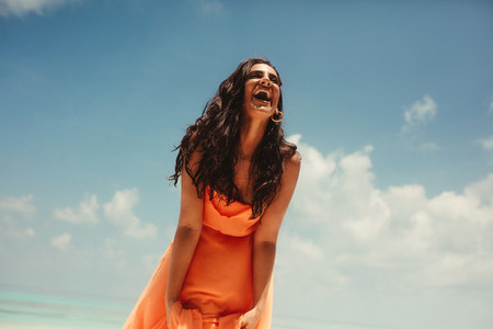 Tourist woman on beach