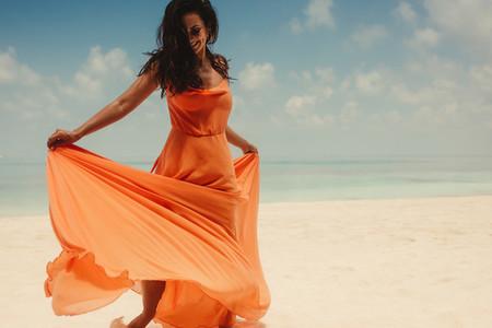 Fashionable woman on the beach