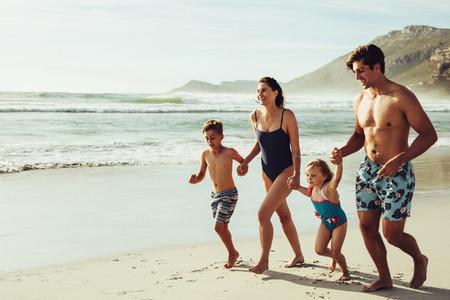 Cheerful family on the beach