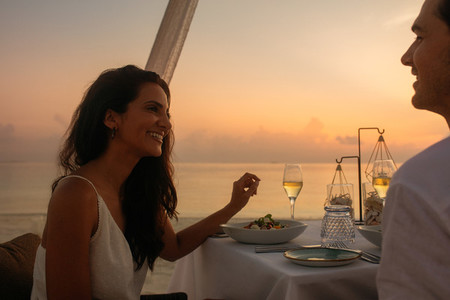 Couple at a sunset dinner date