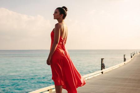 Tourist woman enjoying sea view