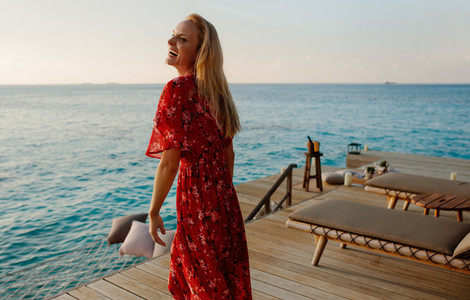 Woman on a holiday at a sea resort
