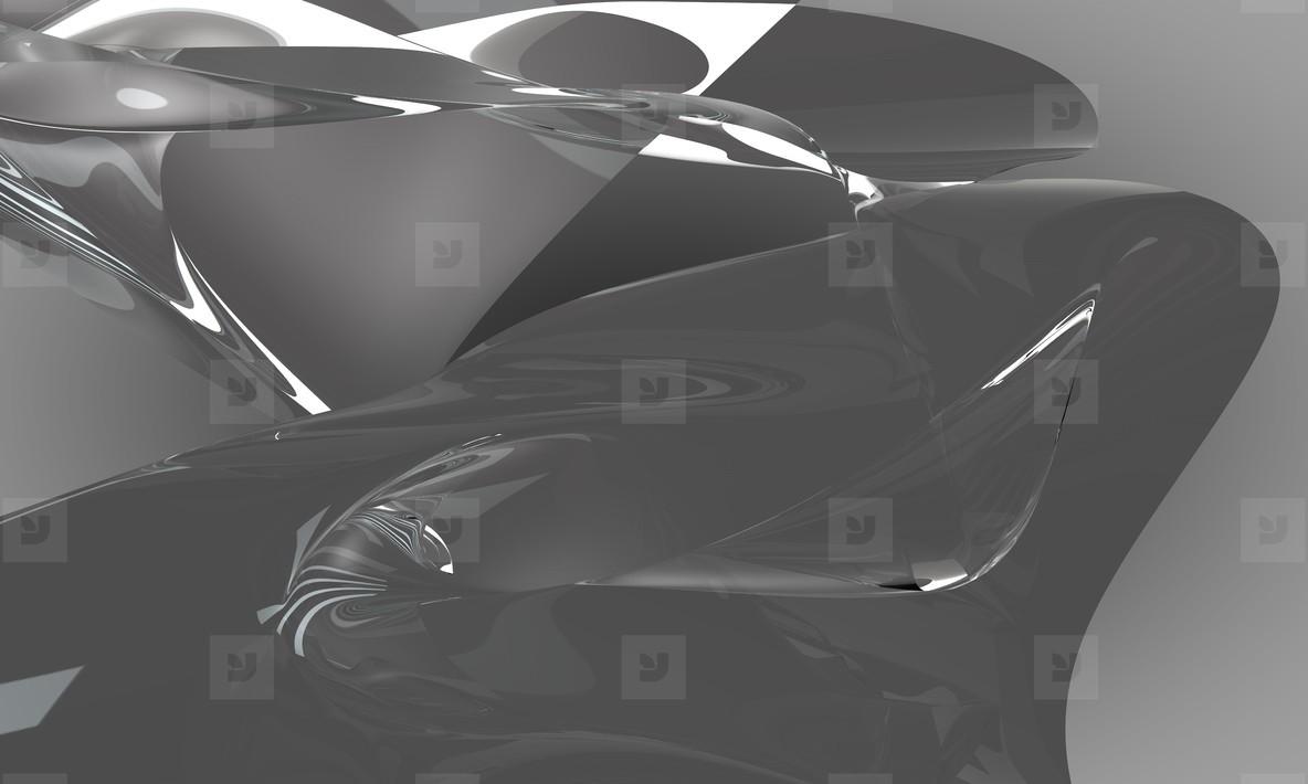abstract metal fluid car
