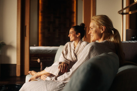 Two women at a spa for a massage