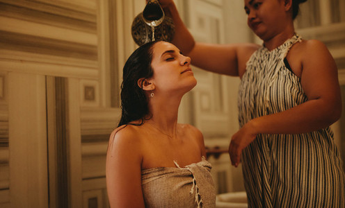 Rejuvenating bath at a spa