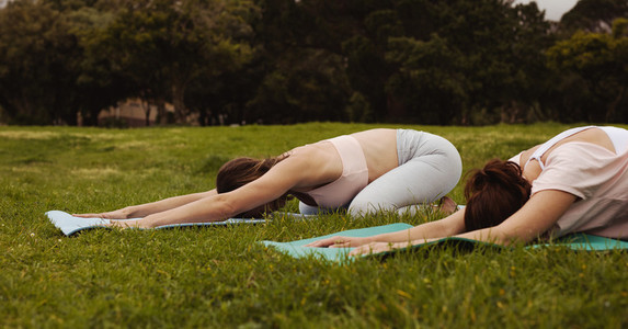 Yoga at a park in the morning