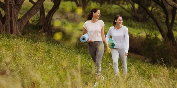 Women going in park for morning yoga