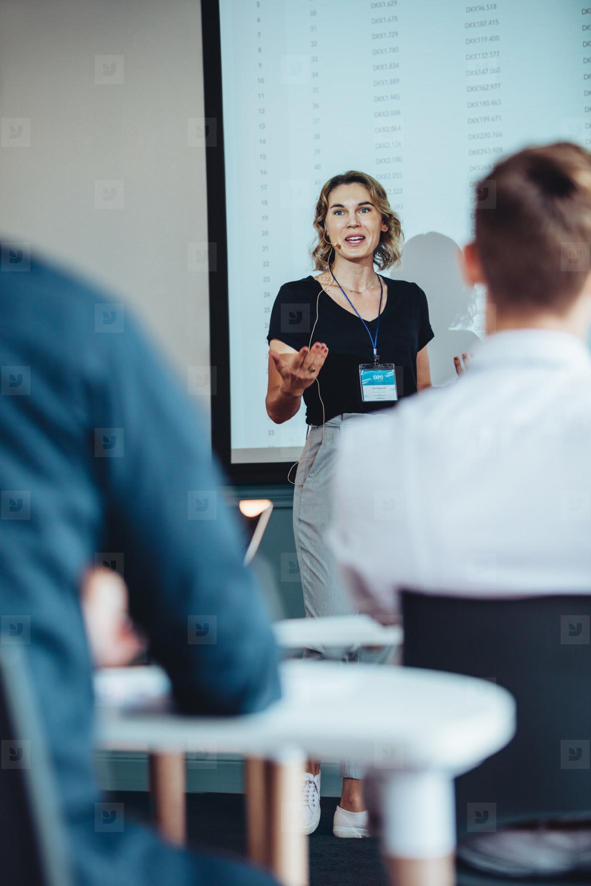Entrepreneur delivering an informative presentation
