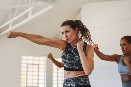 Punching exercises at the gym