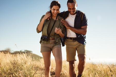Portrait of couple hiking