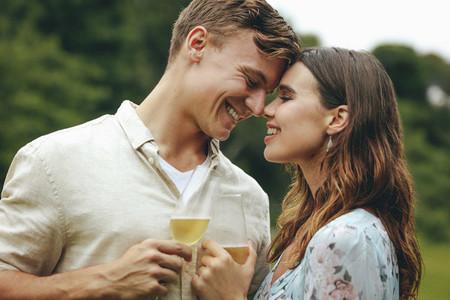 Romantic couple celebrating their love