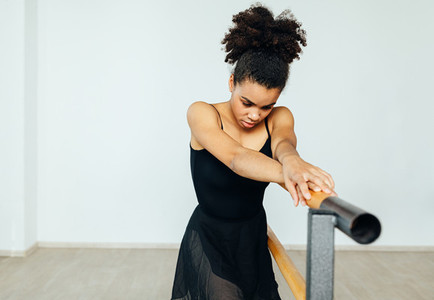 Mixed race woman in dancewear