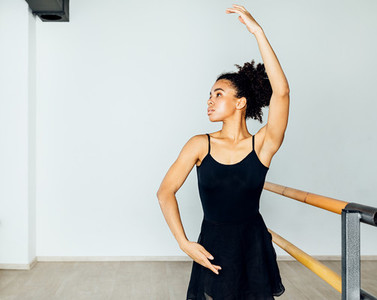 Woman in dancewear practicing