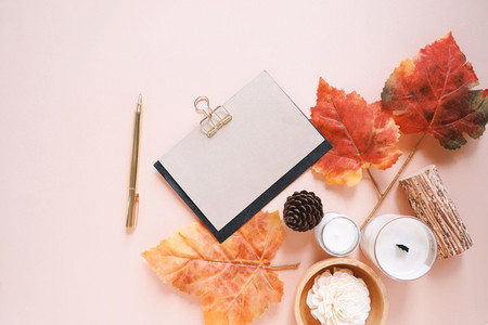 Flat lay of mockup greeting card and autumn holiday concept back