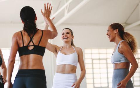 Athletes celebrating after workout