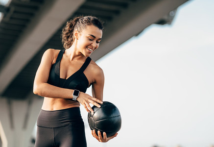 Smiling woman in sportswear
