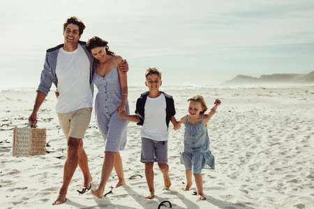 Beautiful family on vacation at beach