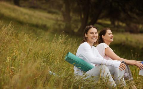 Women relaxing after workout