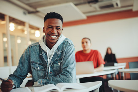 African student sitting in classroom
