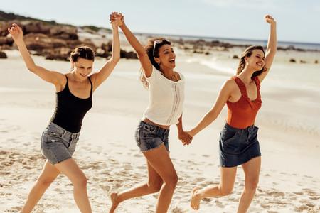 Friends enjoying beach vacation